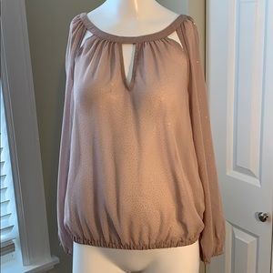 Jennifer Lopez Sheer tan blouse size XS